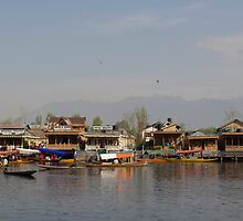 Wooden boats, shikaras and houseboats in the Dal Lake in Srinagar by ashishagarwal74