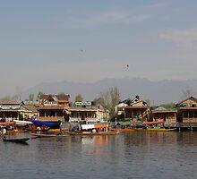 Wooden boats, shikaras and houseboats in the Dal Lake in Srinagar by ashishagarwal74