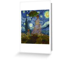 Monet Umbrella on a Starry Night Greeting Card
