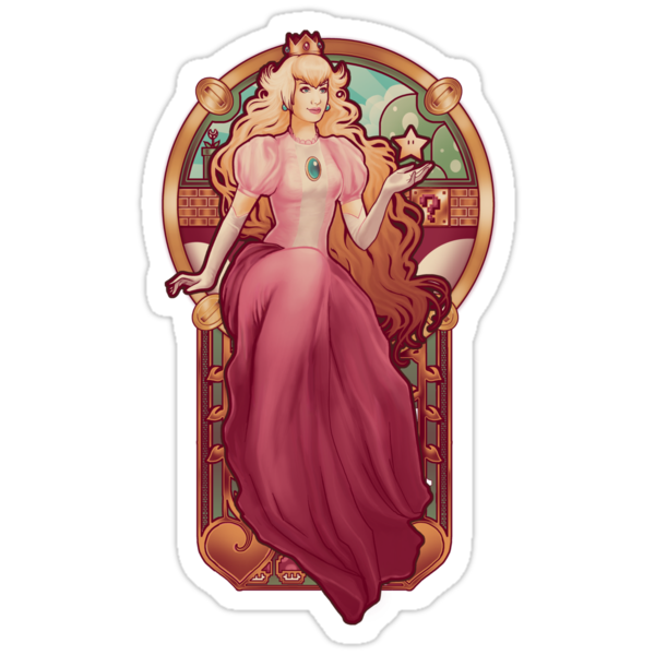 Princess Toadstool Nouveau - STICKER by MeganLara