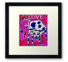 Blue Spotted Love Cow Framed Print
