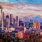 Seattle Skyline with Space Needle and Mt Rainier by artshop77