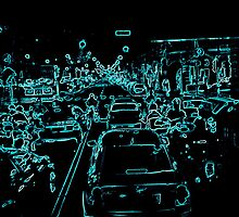 Traffic in Italy in blue by Brigitta Frisch