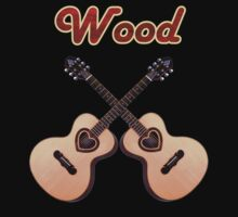 Wood acoustic Guitar heart + text by goodmusic