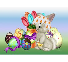 Bunny with lots of chocolate eggs Photographic Print