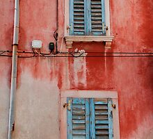 Tatty Blue Shutters, Slovenia by jojobob