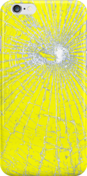 Broken Glass 2 iPhone Yellow by Brian Carson