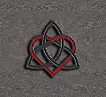 Celtic Knot Valentine Heart Gray Leather by Brian Carson