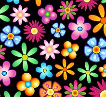 Spring Flowers Colorful Naif Design by BluedarkArt