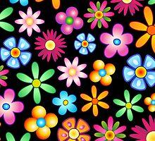 Spring Flowers Colorful Naif Design by BluedarkArt