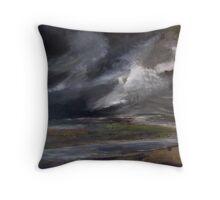 Storm over Norfolk coast Throw Pillow