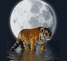 Tiger Cub, Wild-Cat, Full Moon, Animal, Fantasy by Val  Brackenridge