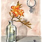 floral watercolor painting, marigold in a jar with keys by resonanteye