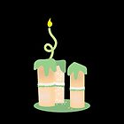 Green birthday cake with candle twirls by jazzydevil