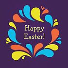 Funky Colorful Swirls Happy Easter  by Boriana Giormova