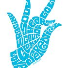 heart in hand in bright sky blue by aygeartist