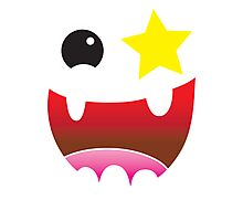 Crazy happy maniac face with stars and teeth  Photographic Print