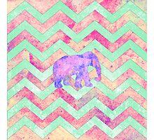 Whimsical Purple Elephant Mint Green Pink Chevron Photographic Print