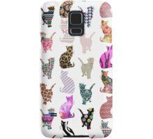 Girly Whimsical Cats aztec floral stripes pattern Samsung Galaxy Case/Skin