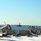 View of the Bug Light through the Lobster Traps by Debbie  Roberts