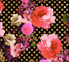 Elegant Pink Vintage Flowers Black Gold Polka Dots by GirlyTrend