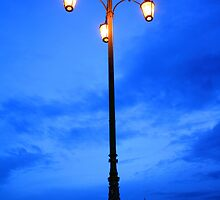 Reality Checkpoint lampost at dusk by Rowan Thomas