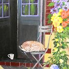 CAT ASLEEP ON A CHAIR by Dian Bernardo