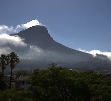 Lions Head, Cape Town, enveloped by low clouds  by Chris Fick