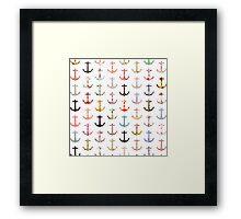 Vintage retro sailor girly floral nautical anchors Framed Print