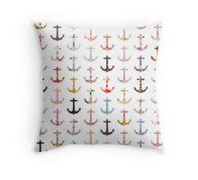Vintage retro sailor girly floral nautical anchors Throw Pillow