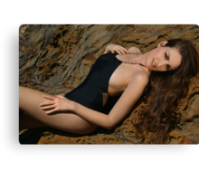 Beauty shot of swimsuit model on location Canvas Print