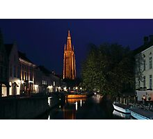 Bruges Night Shot of Church of Our Lady Photographic Print