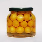 Jar of Yellow Cherry Grappa Preserve by jojobob