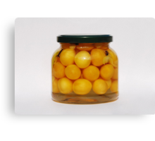 Jar of Yellow Cherry Grappa Preserve Canvas Print