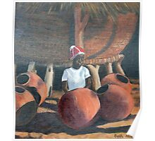 Owambo girl with grain store and beer pots Poster