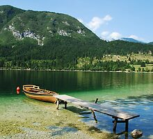 Boat at Lake Bohinj Shore by jojobob