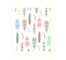 Feathers Pink Tribal Aztec Teal Chevron Pattern Art Print