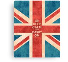 Keep Calm and Carry On Vintage Union Jack Flag Canvas Print