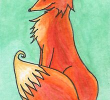 Big Fox Sitting by Amy-Elyse Neer