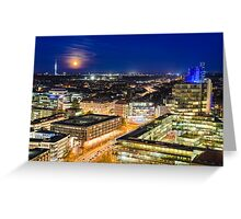 Moon rising over Hannover, Germany Greeting Card