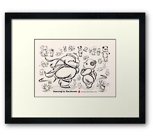 Panda And Polar Bear Dancing In The Street Framed Print