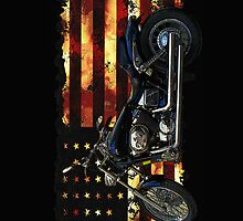 Union Flag, Stars and Stripes, Motorcycle by Val  Brackenridge