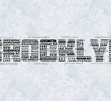 Brooklyn NY Typographic Art Text by icoNYC