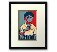 Shinji Ikari - Talk Shit Get Hit Framed Print