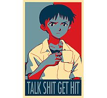 Shinji Ikari - Talk Shit Get Hit Photographic Print