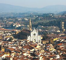 Florence with The Basilica di Santa Croce by kirilart