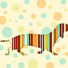Dachshund Fun Colorful Abstract by Natalie Kinnear