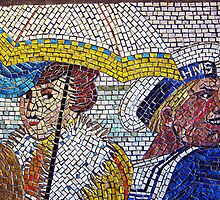 Detail of mosaic, Newport, Wales by buttonpresser