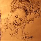 Mother asleep -(020413)- Black biro pen + A5 paper white by paulramnora