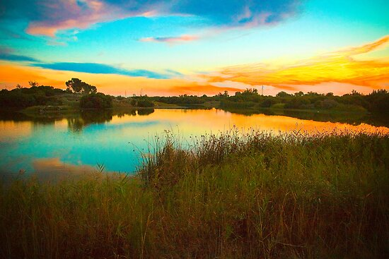 Sunset over Greenfield Wetlands, South Australia by Elana Bailey